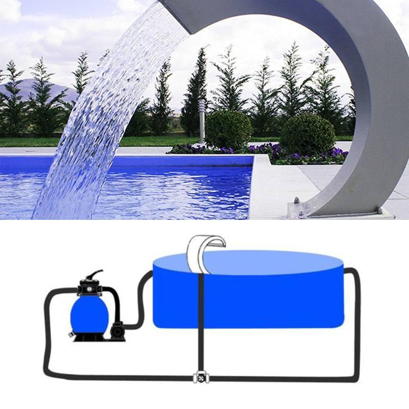 60x30cm cascade en acier inoxydable piscine fontaine d'eau étang jardin piscine caractéristique matériel décoratif robinet