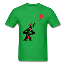 цена на Printed On Balloon Apes Green T Shirts Brand New Thanksgiving Day Short Sleeve Tee Shirt For Men Round Neck Pure Cotton Tops