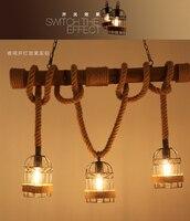 American country vintage cafes shop pub bar pendant lights hemp rope pastoral bamboo lamp dining room restaurant foyer droplight
