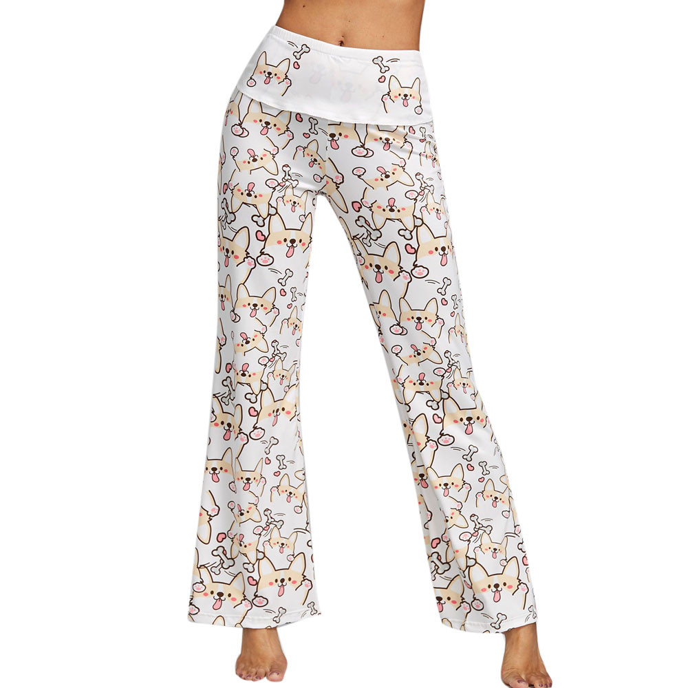 2018 Women Dog Printing Bell Bottoms Flare Trousers High Waisted   Wide     Leg     Pants   Lady Puppy Bone Print   Wide     Leg     Pants