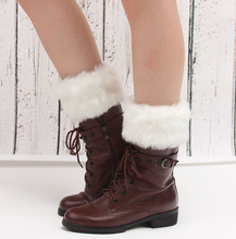 2016 Hot sale Women Winter Fur Leg Warmers Soft Faux Boot Cuffs Ankle Knee  Socks winter fashion accessoires