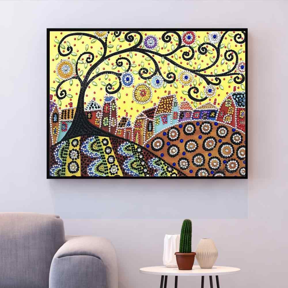 الماس التطريز الخريف الزهور شجرة النبات شكل خاص الماس اللوحة الإبرة حجر الراين 5d DIY بها بنفسك الكريستال اللوحة