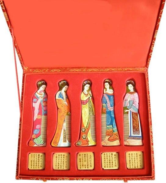 ФОТО Sale Hot Sale Classic!hot Sale!gifts With Chinese Characteristics Set 5 High Spun Gold Wood Comb-g143