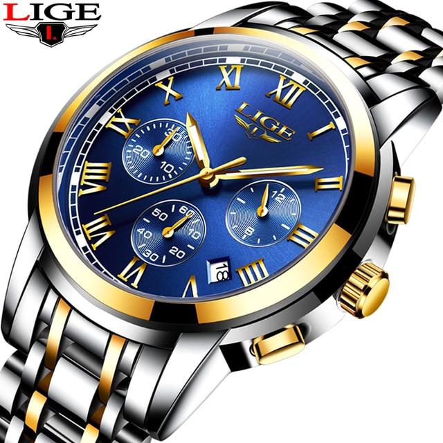 2018 Novos Relógios Homens Marca De Luxo LIGE Cronógrafo Homens Esportes Relógios À Prova D' Água Relógio Dos Homens de Aço Completo relógio de Quartzo Relogio masculino