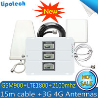 GSM 900 LTE 1800 WCDMA 2100Mhz Cellular Signal Repeater 2G 3G 4G Triple Band Cell Phone