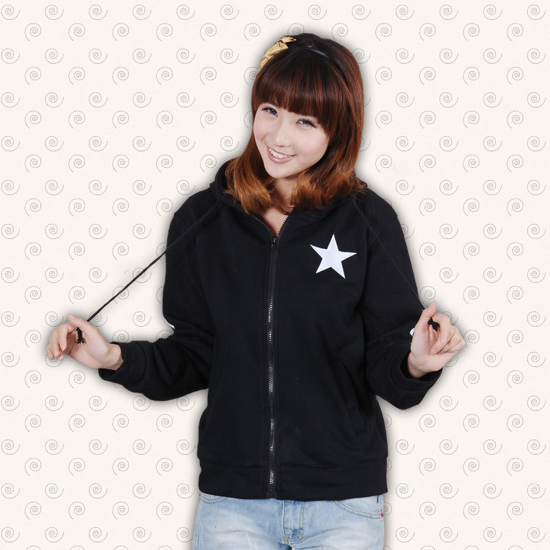 Gratis frakt Black Rock Shooter Hoodies Sweatshirts Cosplay Kostym Casual Coat Vocaloid Kläder Unisex Zipper Hoody Jacket