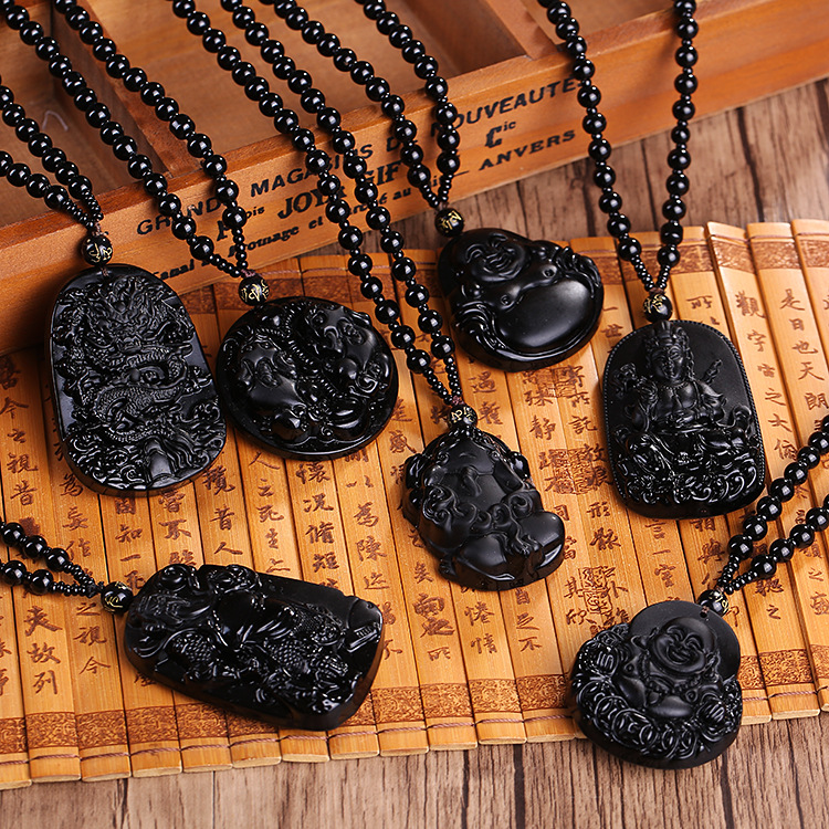 Black Obsidian Carved Lucky Necklace Pendant