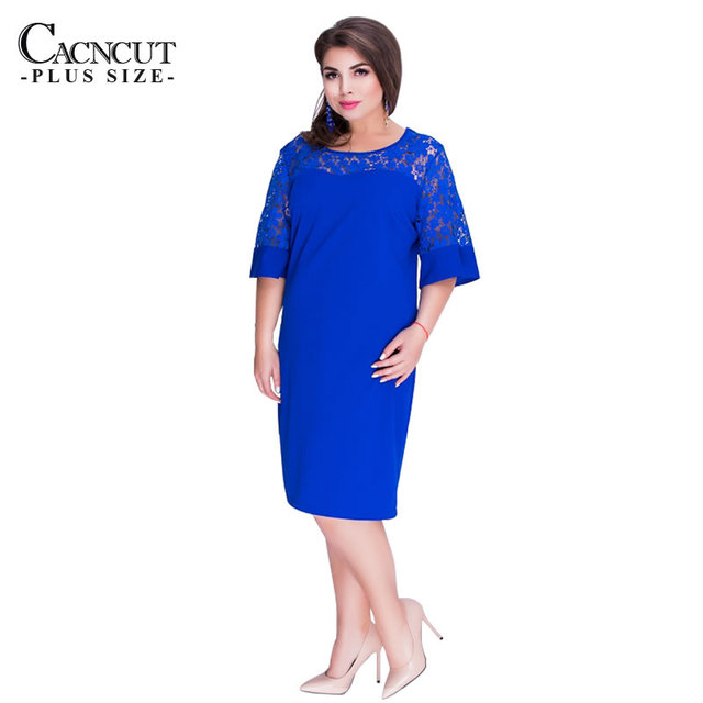 CACNCUT 5XL 6XL 2018 Summer New Lace Elegant Big Size Women's Dresses Solid Red Short Sleeve Office Ladies Dress Large Size Blue