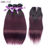 3 Brazilian Straight Hair Ombre Bundle With Closure Colored 1B Burgundy Bundle With Closure Human Hair Weave NonRemy ShiningStar