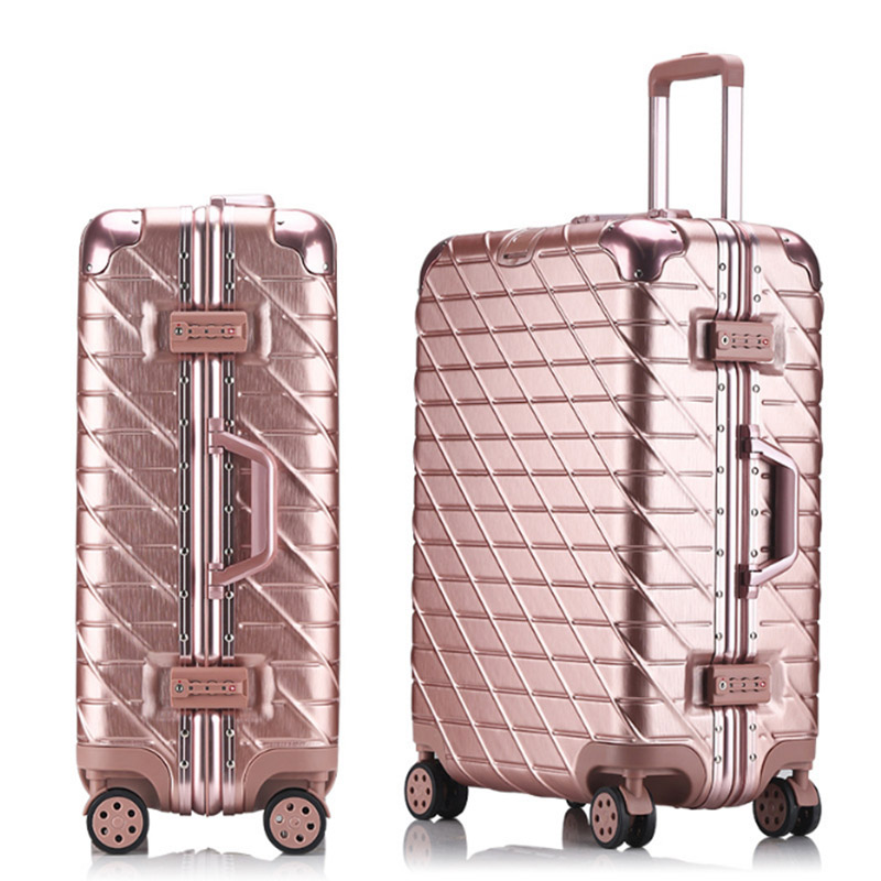 20''22''24''26''29'' Aluminum Frame Suitcase Travel Trolley Luggage TSA Lock Spinner Caster mala de viagem Business Suitcase vintage suitcase 20 26 pu leather travel suitcase scratch resistant rolling luggage bags suitcase with tsa lock