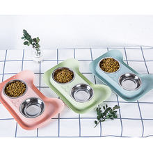 1Pc Durable Double Stainless Steel Dog Cat Bowls with Non-spill & Non-skid Design for Pet Food and Water Elevated Feeder