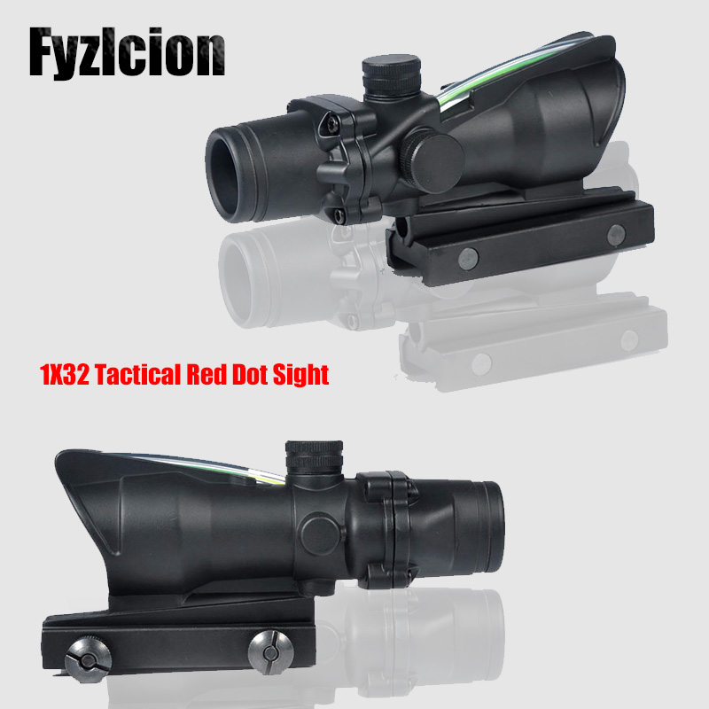 Hunting Scope ACOG 1X32 Tactical Red Dot Sight Real Green Fiber Optic Riflescope with Picatinny Rail for M16 Rifle
