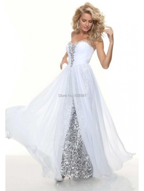 Sheath sweetheart long White sequined flowy prom dress with beading ...