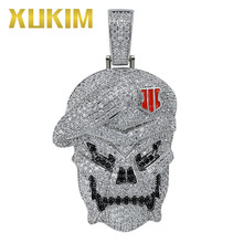 Xukim Jewelry Micro Pave AAA Cubic Zirconia Iced Out Hip Hop Jewelry Black Ops Skeleton Skull Pendant Necklace цены