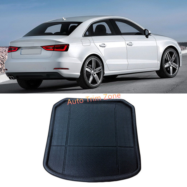 1PCS Interior Black Rear Trunk Boot Mat Carpet For Audi A3 Sedan 8V 2014  2015 2016