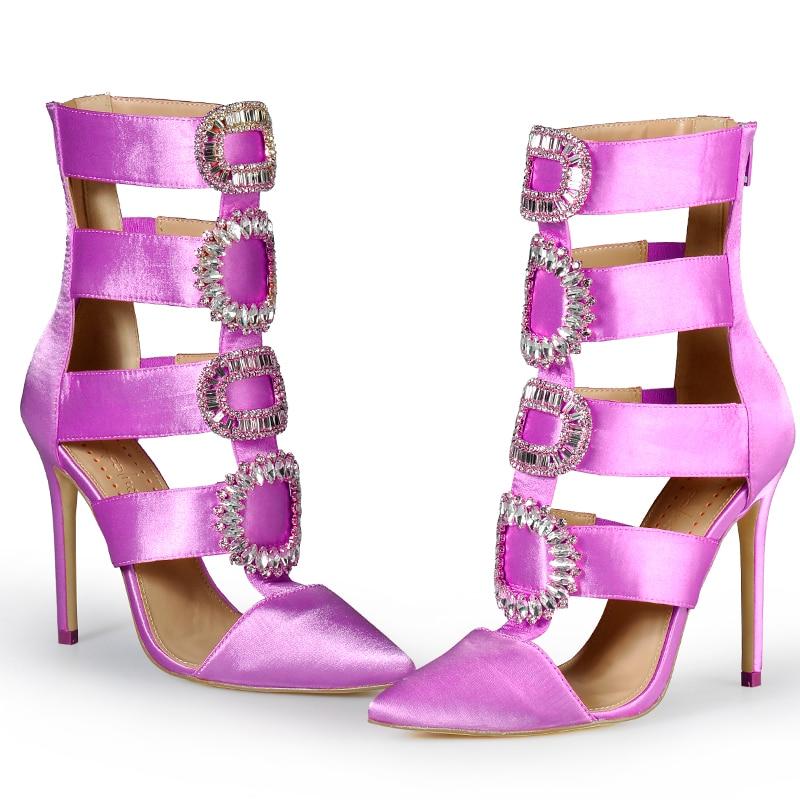 Różowy Palms lato jesień buty zimowe damskie buty na wysokim obcasie szpiczasty Toe sandały kryształowe kostki buty ślubne buty Sexy kobiety sandały w Wysokie obcasy od Buty na  Grupa 2