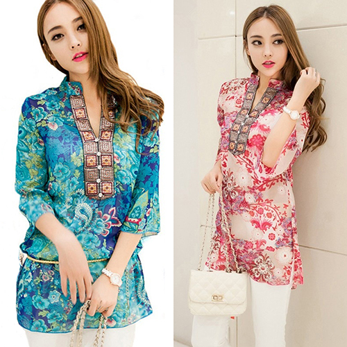 New Arrival Women's Fashion Summer Korean Style Ethnic Loose Chiffon   Blouse     Shirts