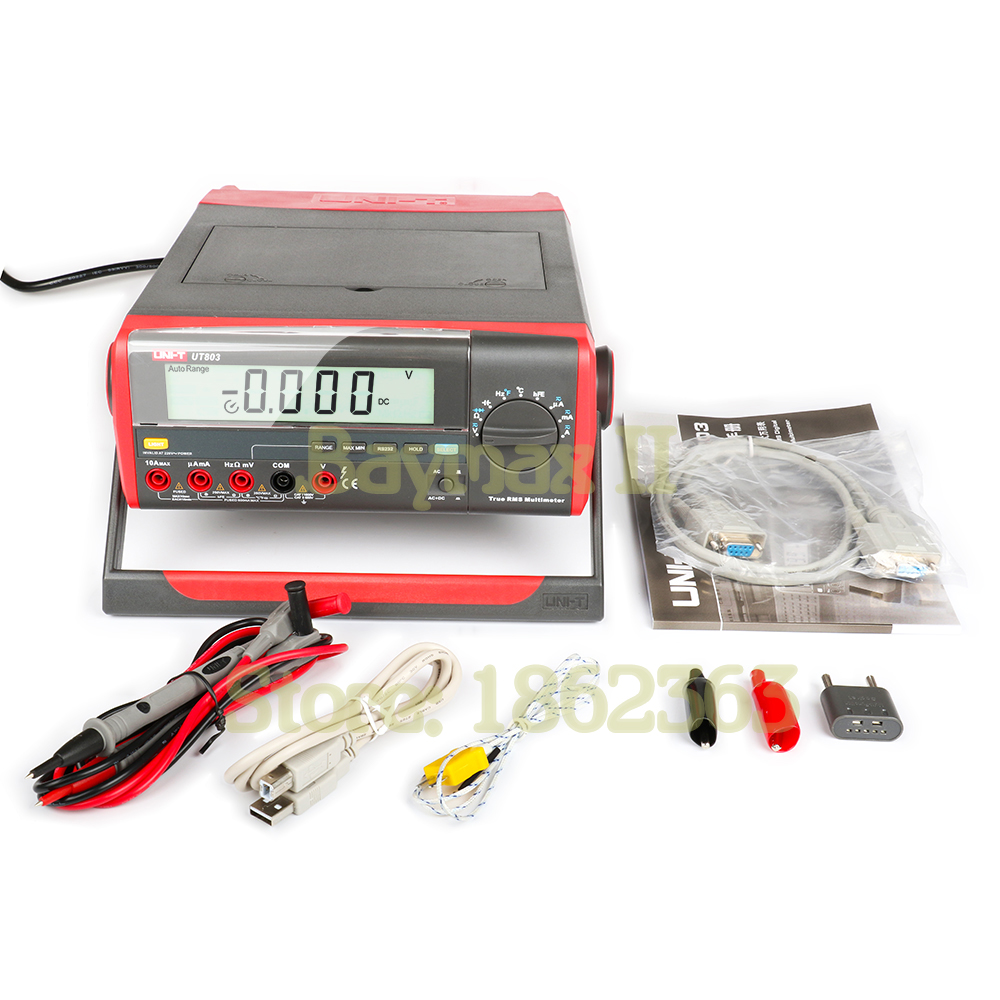 UNI-T UT803 5999 Counts Auto-Range True RMS Bench Type Digital Multimeter with RS232C/USB Interface, LCD Backlight, Data Hold