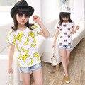 Chicas Camisetas de algodón camiseta Del Verano de manga Corta roupas infantis menina plátano camiseta niños oso ropa tapas de Los Niños