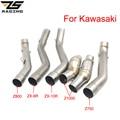 ZS гоночный мотоцикл глушитель средней трубы звено трубы для Kawasaki Z750 Z800 Z1000 ZX6R ZX-6R ZX10R ZX-10R без шнуровки