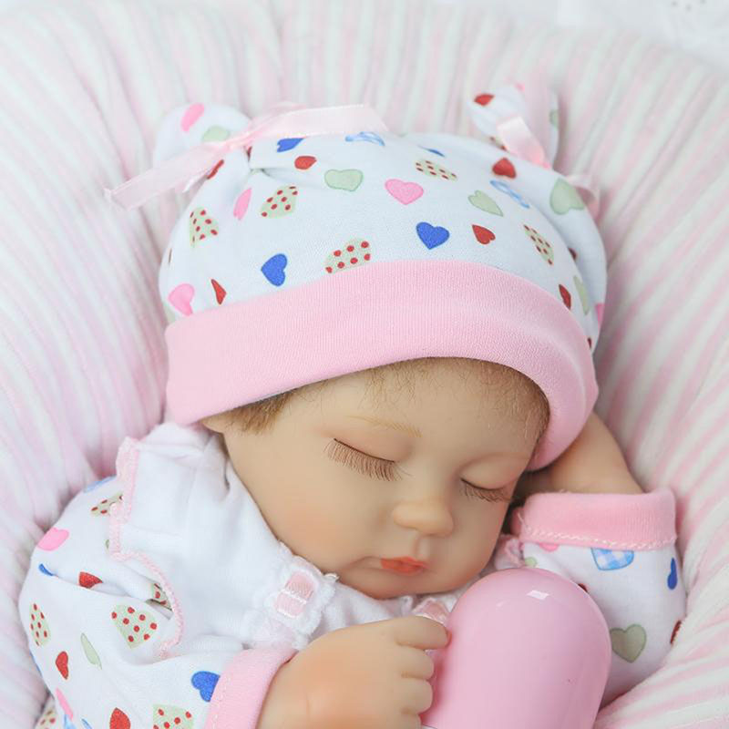 ФОТО Close Eyes Reborn Baby Doll Real Like 17 Inch Sleeping New Born Baby with Free Pillow Gift For Kits New Arrival Model Dolls Toy