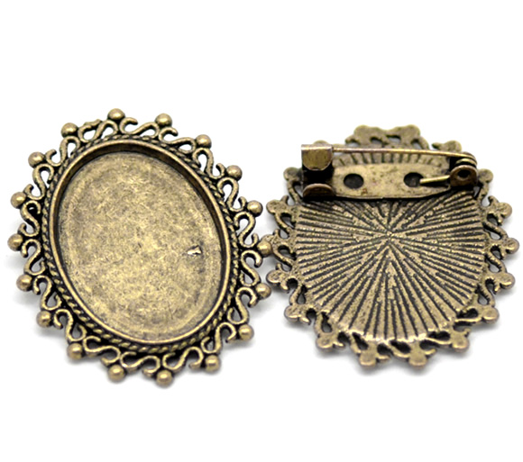 Antique Bronze Oval Cameo Frame Setting Brooches 3.5x3cm(Fit 24.5x18mm), Sold Per Packet Of 2