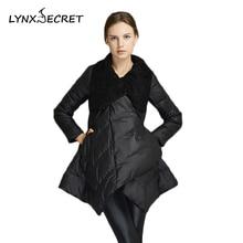 Winter jacket women adjustable scarf collar Outwear Elegant dress snow solid High Quality duck down wool Coat parka Warm Clothes