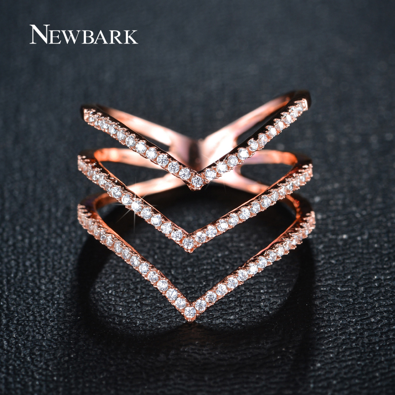 0de08b95cdef7 NEWBARK Brand Big Women Rings Micro CZ Three V Shape Ring Rose Gold Color  And Silver Color Fashion Jewelry for Women