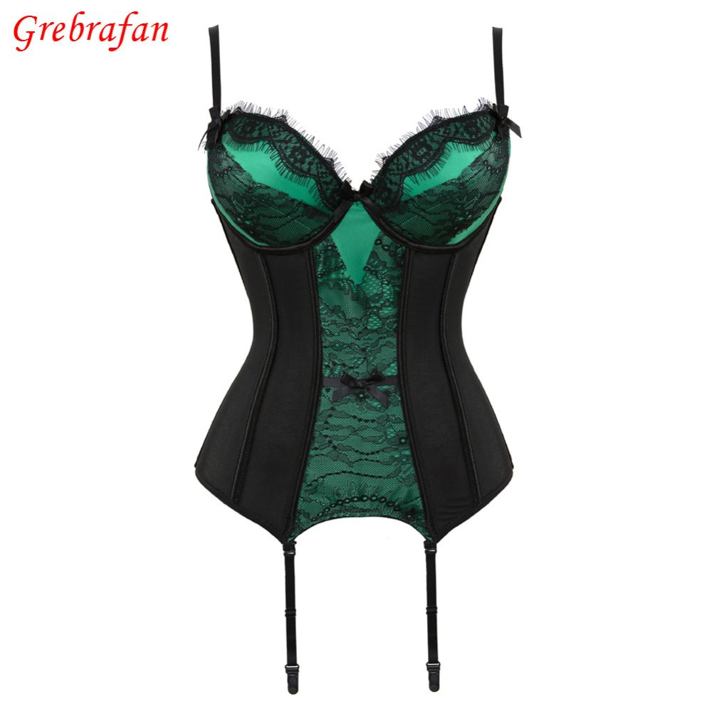 Sexy Push Up Boned slimming   corset   with Cup Girdle Set   bustier     corset   Straps Belt