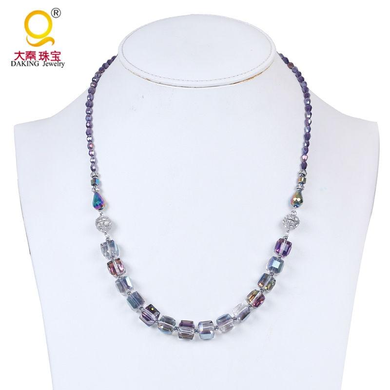 Mode strand cristal perlé collier avec double shambhala magnétique fermoir  en cristal de collier et bracelet en cristal bijoux b457d109ce4