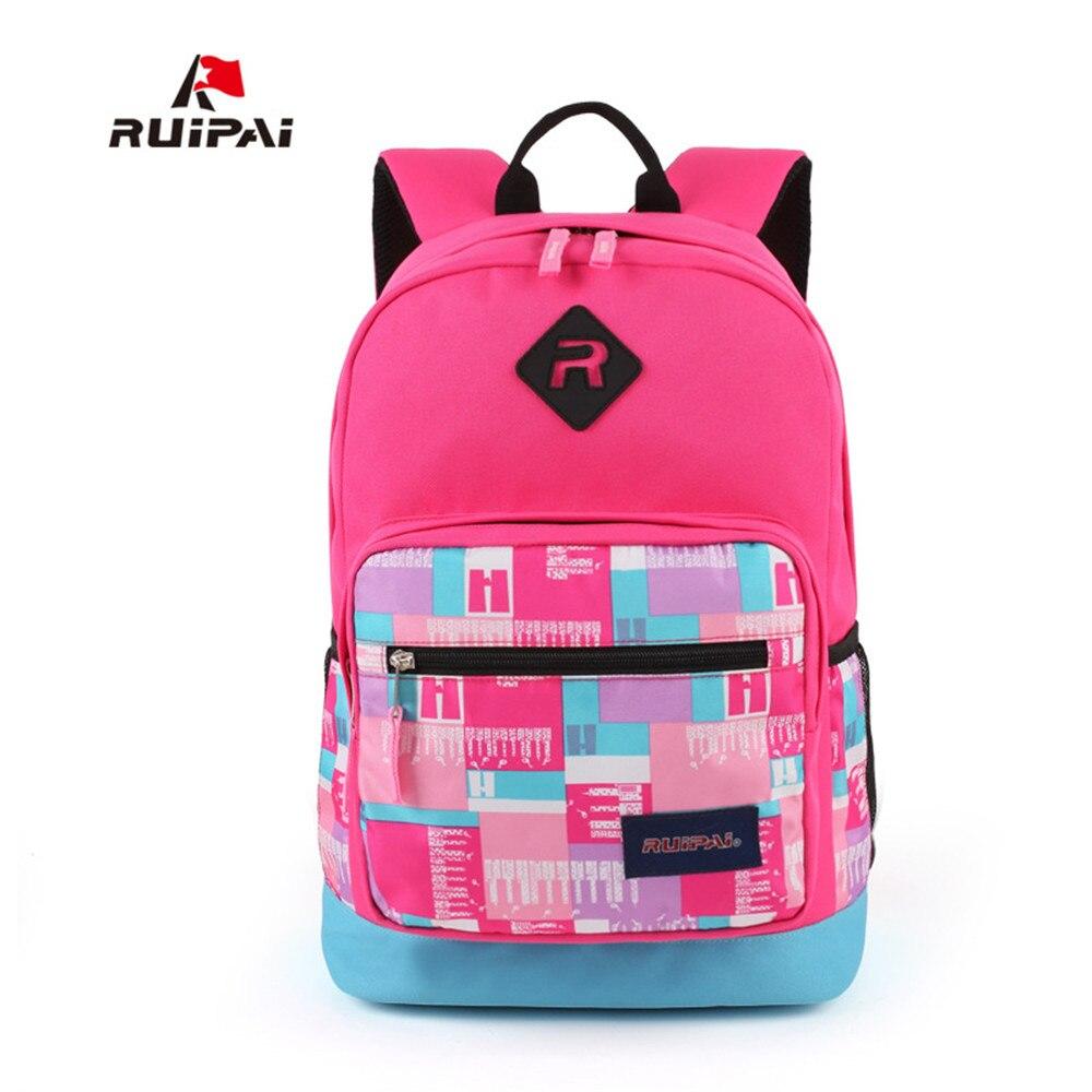 ad0efa78c8 RUIPAI Waterproof Fashion light Weight School Bag Boys girl polyester Net  grid printing Backpacks Child Kids School bag-in School Bags from Luggage    Bags ...