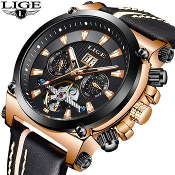 LIGE 2019 Men Business Leather Automatic Mechanical Watch Men Military Waterproof Clock Male Sport Mechanical Clock Reloj Hombre