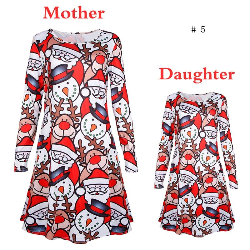 Famille vêtements de noël mère et fille robe bonhomme de neige père noël Elk imprimer robe bébé fille robe de noël bébé enfants tissu