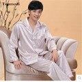 2017 Nuevos Hombres Pijamas de Seda de Satén de Lujo Salón Pijamas Pijamas Para Hombre de Los Hombres de manga Larga Ajustado Más El Tamaño 4XL