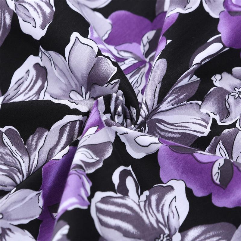 Kostlish Cotton Summer Dress Women 2017 Sleeveless Tunic 50s Vintage Dress Belt Elegant Print Rockabilly Party Dresses Sundress (73)