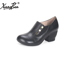 Xiangban Spring Female shoes Handmade Genuine Leather Women High Heels Thick With Round Toe Pumps