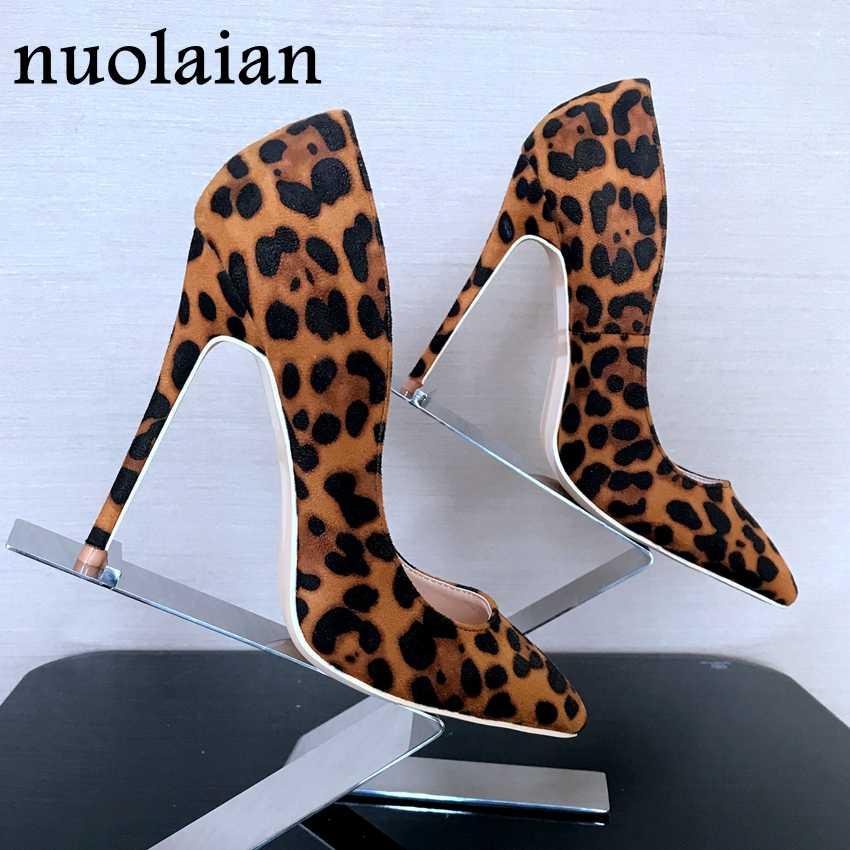 8 10 12 cm Phụ Nữ Leopard Bơm Giày Ngón Chân Nhọn Phụ Nữ Giả Da Lộn Cao Gót Nữ Cao Gót Bơm Giày lady Đảng Cao Gót