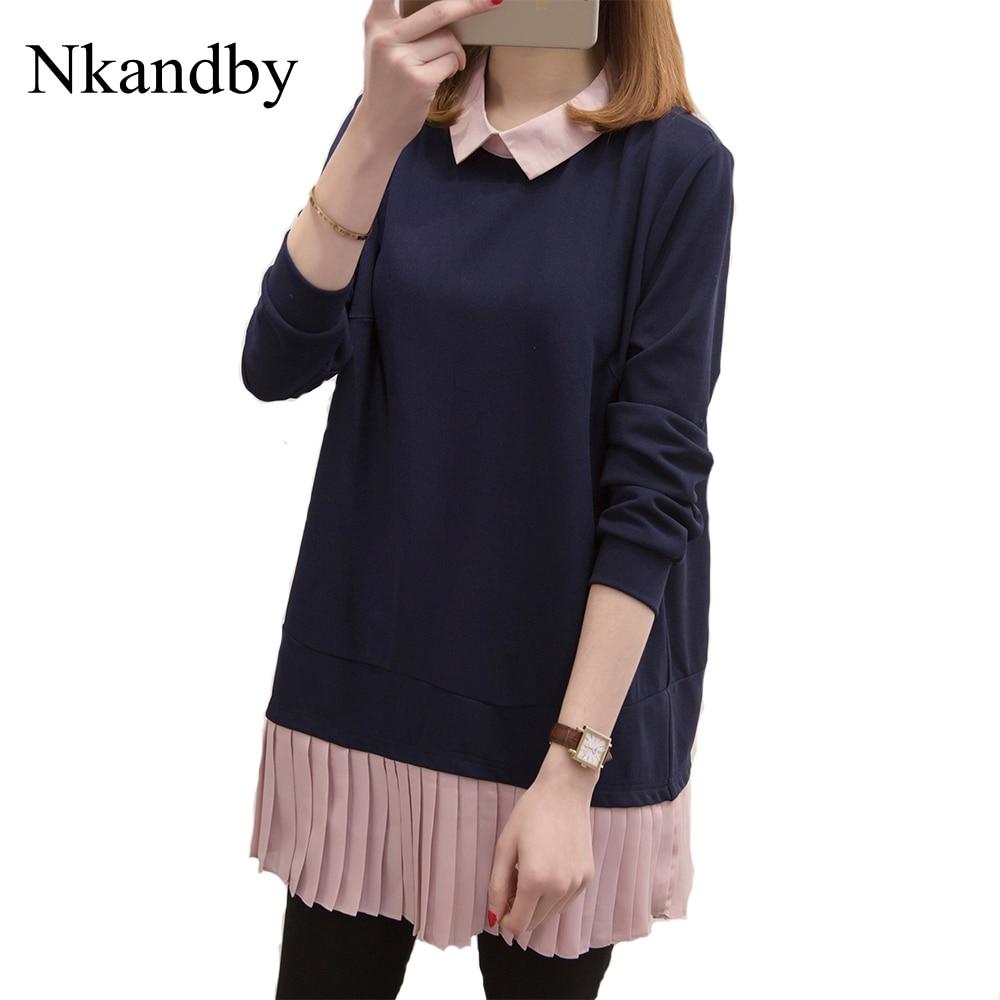 Nkandby Plus Size Women Blouse 2019 Autumn Loose Peter Pan Collar Ladies Tunic Tops Pleated Chiffon Patchwork Oversize Shirt 5xl