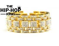 Hip Hop Bling Bracelet Gold Tone Iced Out Rappers Style Bracelet For Men