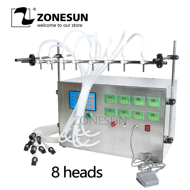 ZONESUN 8 Head Electric Digital Control Pump Liquid Filling Machine 0.5-4000ml For Liquid Perfume Water Juice Essential Oil small bottle filling machine