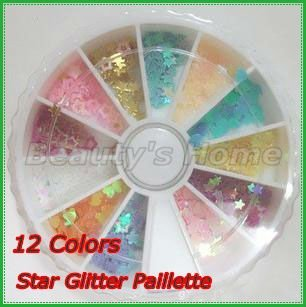 Freeshipping12 Colors Star Glitter Paillette Spangles Beads Powders for Nail Art Decoration in WHEEL #0080-1