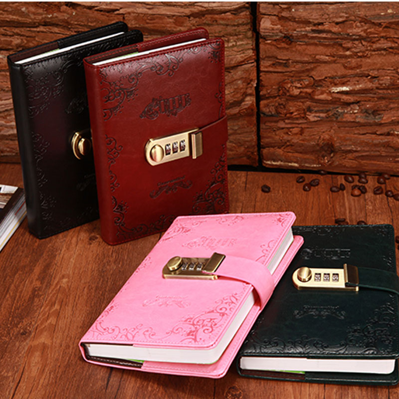 NEW Vintage notebook personal diary with lock code thick leather notepad 100 sheets paper stationery Products supplies gift simline vintage 100