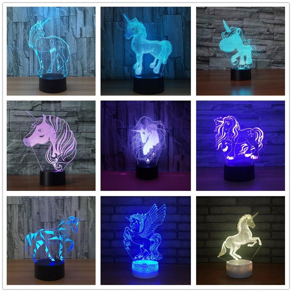 Unicorn 3D LED Lamp Night Light 7 Color Change Usb 3d Light Christmas Decorative Gift Cartoon Toy Luminaria Bachelor's Party