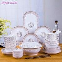 Син килограмм набор посуды бытовой керамики 56 головы, костяного фарфора посуда китайский рисом тарелку сочетание набор посуды