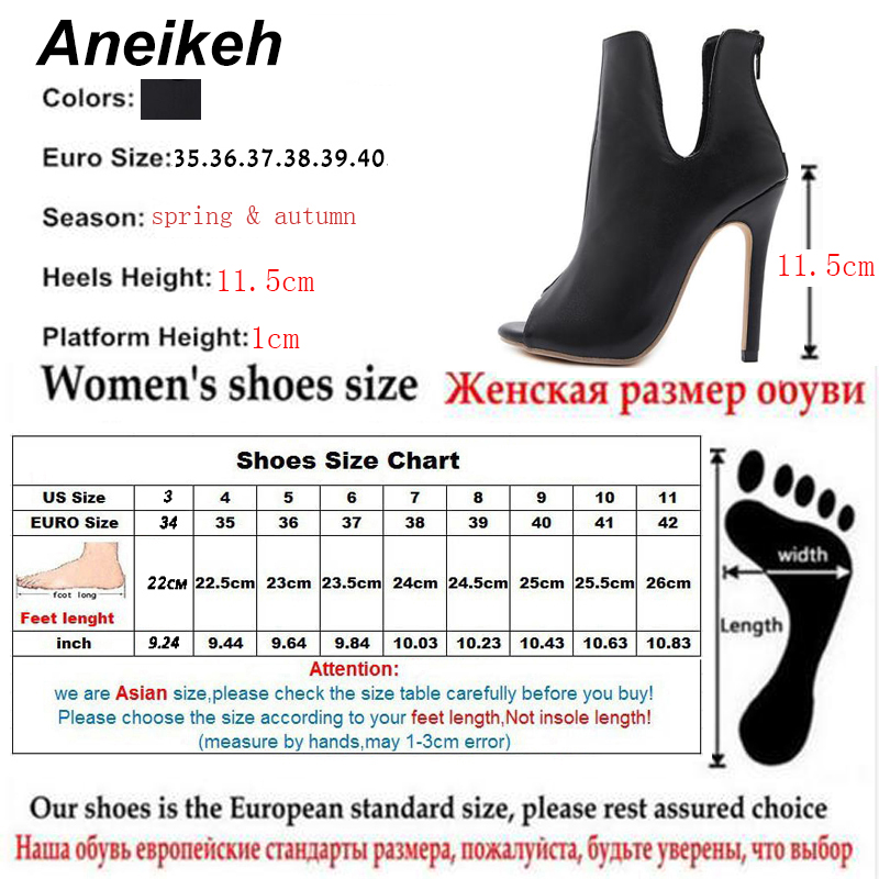 US $17.63 32% OFF|Aneikeh New Design Women Chelsea Boots Black Open Toe High Heels Shoes Spring Autumn Woman Ankle Boots Size 35 40 938 119# in Ankle