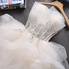 Vestido de dama de honra, vestido curto sem mangas para moças princesa banquete