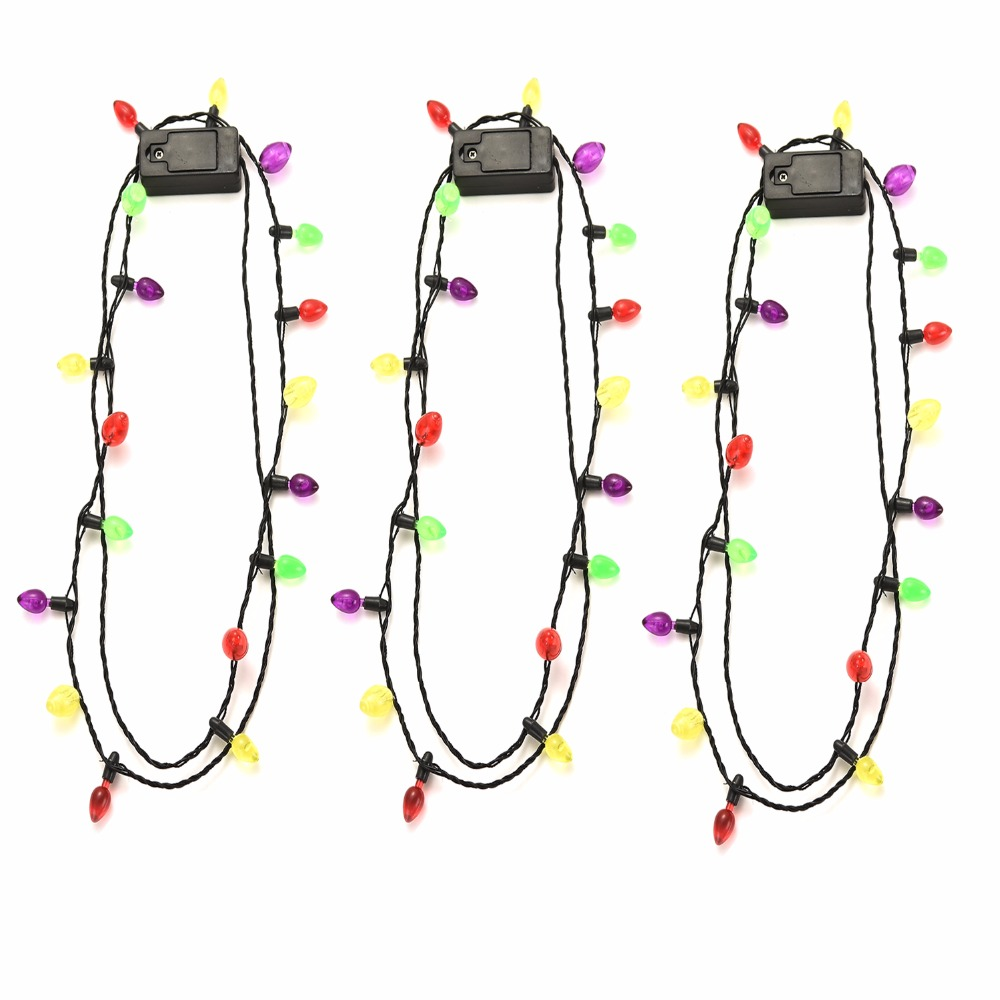 Onnea 3 PCS/Set Christmas Flashing Necklace for Adults Kids Light Bulb Necklaces 18 LED Birthd Party Decoration Jewelry Gifts