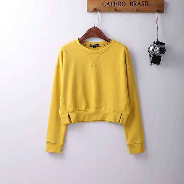 2016 moda primavera pequeno solto básico camisola feminina de algodão puro tecido projeto short o-pescoço top Pura curto