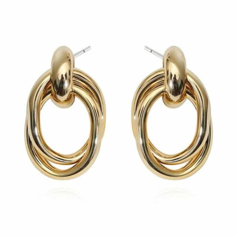 EK339 Big Vintage Drop Earrings for Women Geometric Oval Statement Earring Twisted Metal Earing Hanging Fashion Jewelry Trend