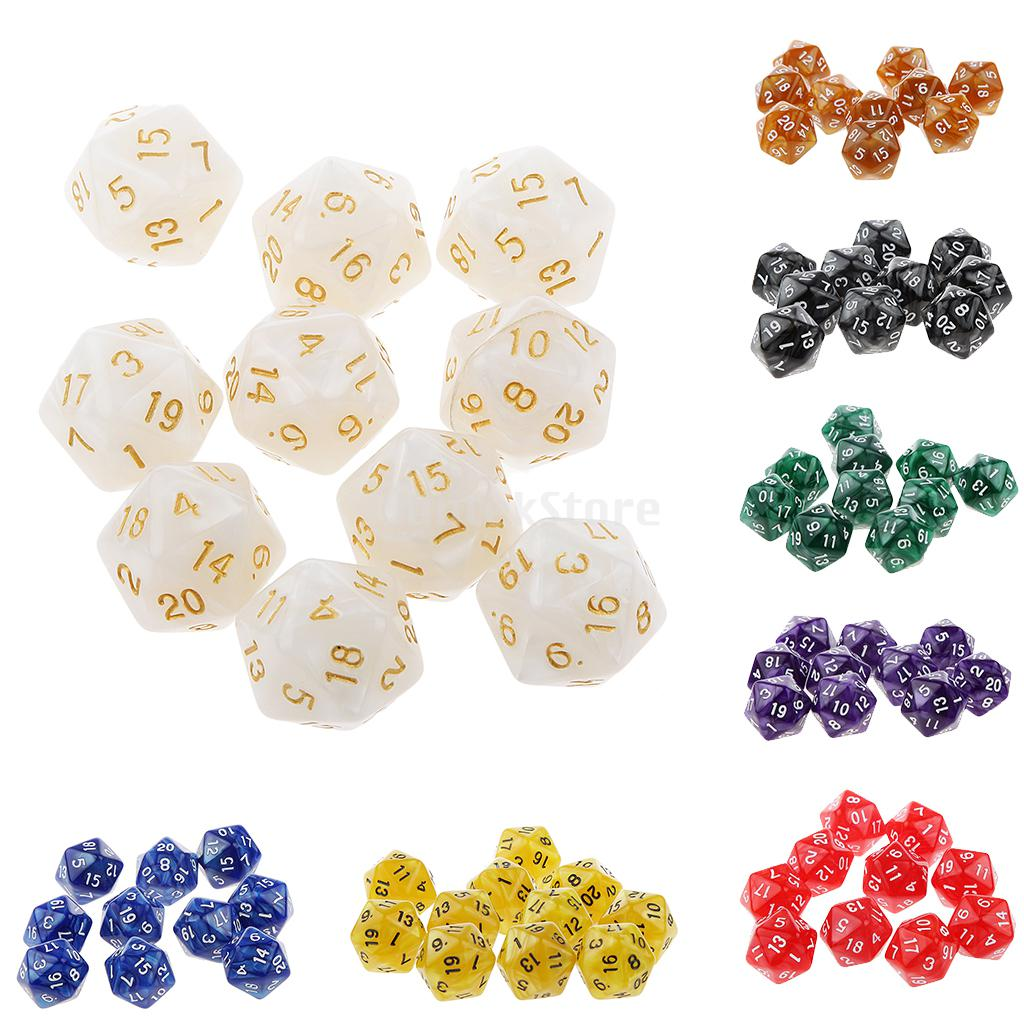 10pcs Twenty Sided Dice D20 Playing D&D RPG Party Games Dices